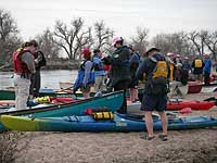 kayaks canoes on South Platte River