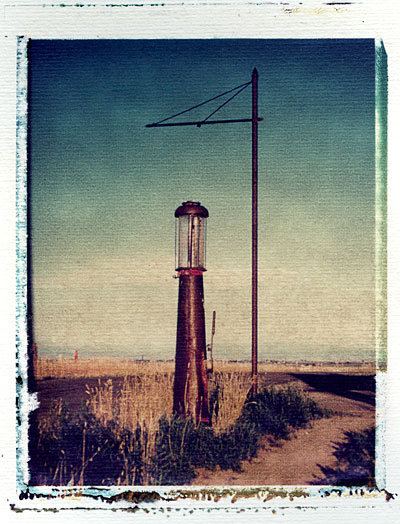 Old gas station - Polaroid image transfer